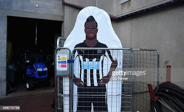 The image of Newcastle player Cheick Tiote is shown on a practice wall board before the Barclays Premier League match between Newcastle United and...