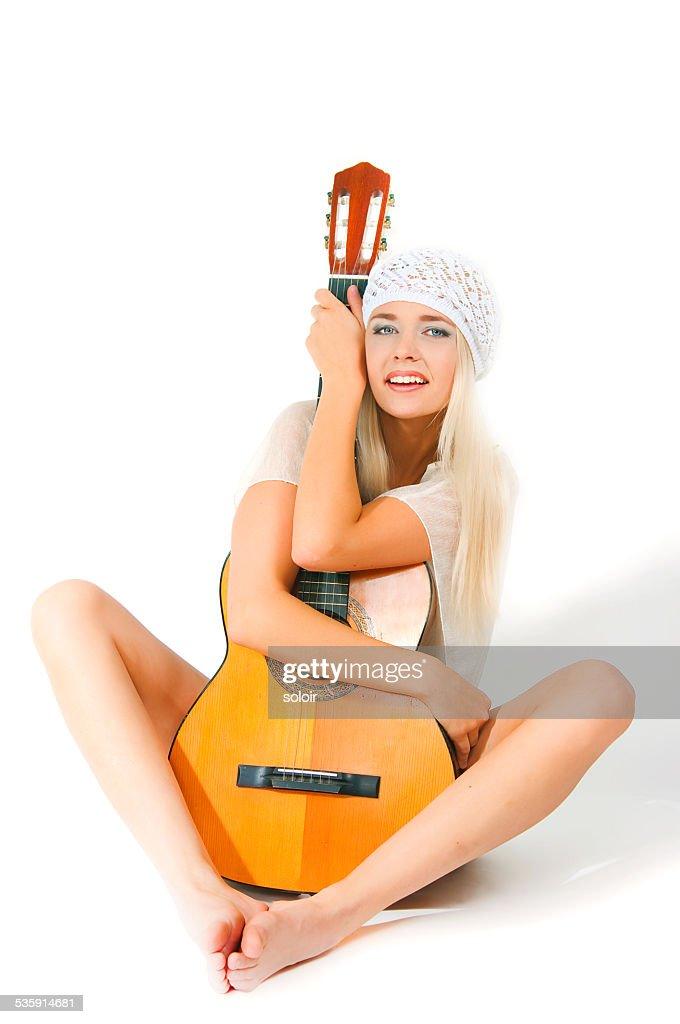 a imagem da menina com Guitarra : Foto de stock