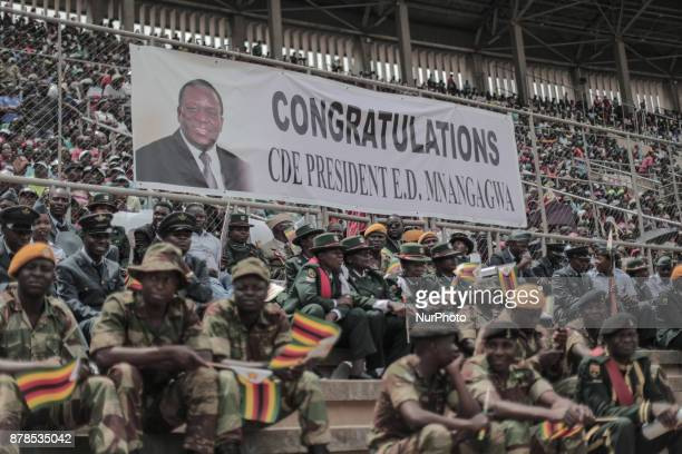 The image of the new president Emmerson Mnangagwa behind some of the military who are waiting for him to come to Harare International Stadium in...