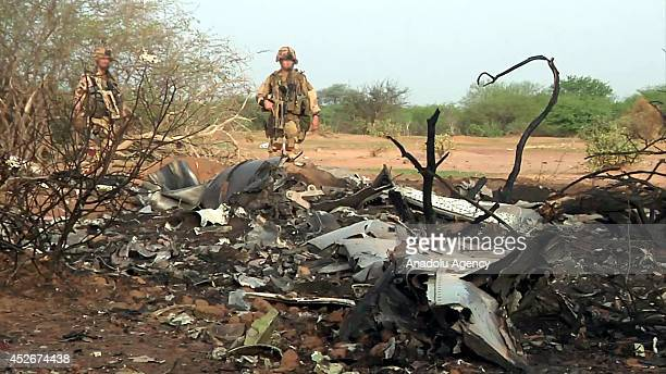 The image provided on July 25,2014 by the French Defence communication and audiovisual production show the site of the plane crash in Mali on July...