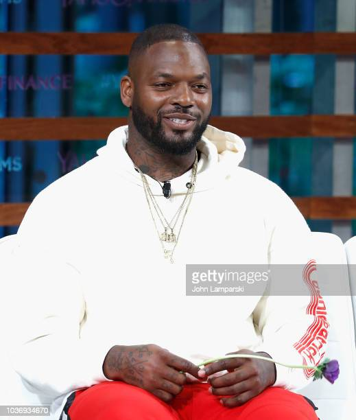 The Imagination Agency Martellus Bennett speaks during the 2018 Yahoo Finance All Markets Summit at The Times Center on September 20 2018 in New York...