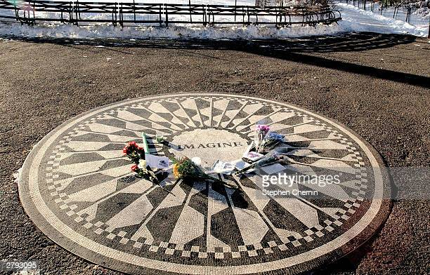The Imagine tribute to former Beatle John Lennon is seen December 8 2003 at Central Park's Strawberry Fields in New York City John Lennon was shot to...