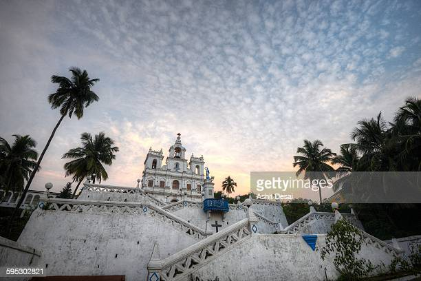 the immaculate conception church, panjim - goa stock photos and pictures