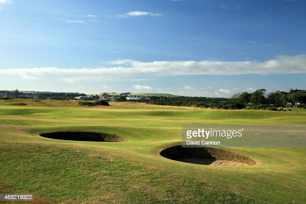 The immediate approach to the green on the par 5 14th hole on the Old Course at St Andrews venue for The Open Championship in 2015 on July 29 2014 in...