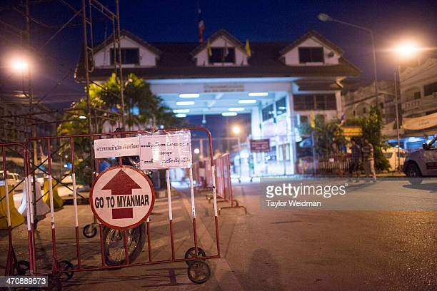 The immigration checkpoint between Thailand and Burma as seen from Mae Sot Thailand On August 28th foreign visitors with Burmese visas began to be...