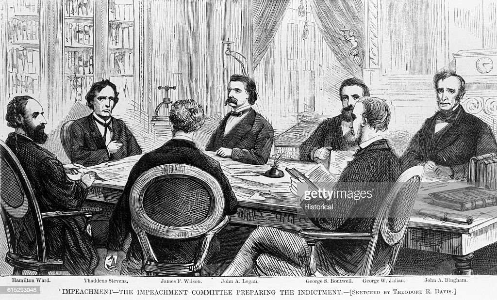 The impeachment committee sits around a table preparing the indictment. President Andrew Johnson underwent impeachment proceedings in 1868 due to differences between he and Congress in regard to Reconstruction policies.