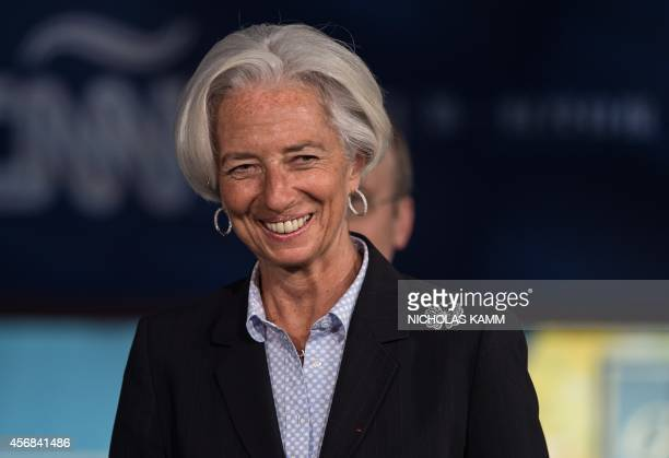 IMF Managing Director Christine Lagarde arrives to deliver opening remarks during a panel on Challenges of JobRich and Inclusive Growth Session 1 The...