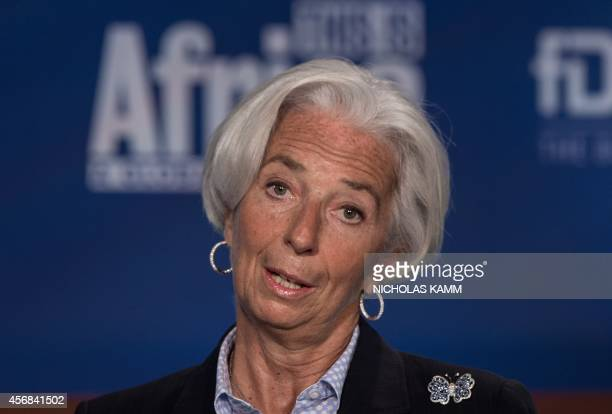 IMF Managing Director Christine Lagarde delivers opening remarks during a panel on Challenges of JobRich and Inclusive Growth Session 1 The...