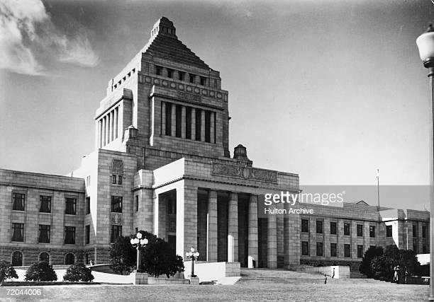 The Imperial Diet building in Tokyo the seat of both the government bodies of Japan the House of Representatives and the House of Councillors circa...