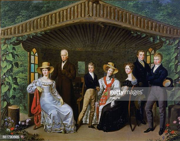 The imperial family of the Duke of Reichstadt in a garden arbor. Left Emperor Francis I. And his wife Augusta;then Napoleon Franz Karl Joseph;the...