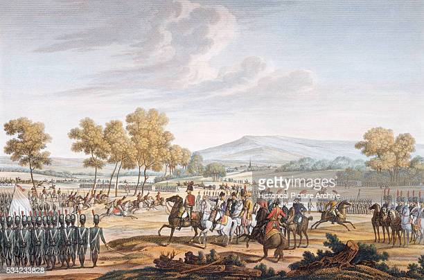 The Imperial Guard engage in military manoeuvres before the two emperors including Napoleon Bonaparte