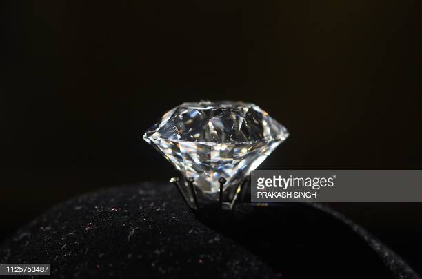 The imperial Jacob diamond, one of the largest diamonds in the world, is on display at the 'Jewels of India: The Nizam's Jewellery Collection'...