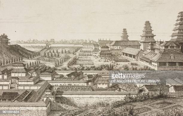 The imperial palace of Yedo Tokyo Japan engraving by Lemaitre from Japon IndoChine Empire Birman Sima Annam Peninsule Malaise etc Ceylan by...