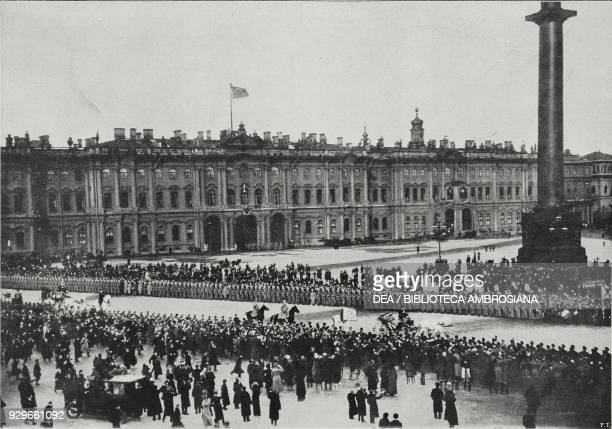 The imperial procession coming out of the Winter Palace to go to the Cathedral celebrations for the 3rd centenary of the Romanov dynasty St...
