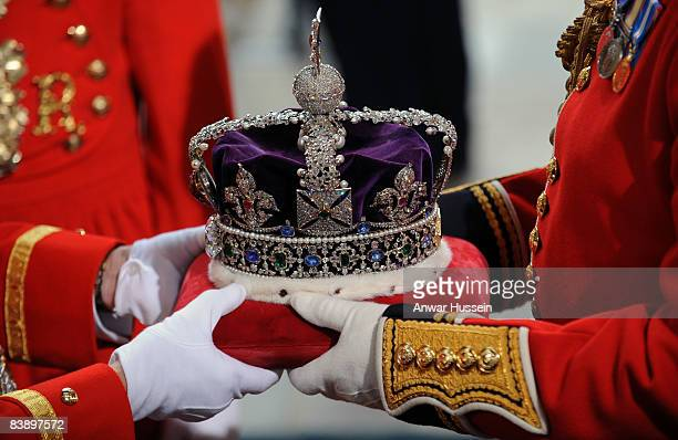 The Imperial State Crown arrives at Westminster for Queen Elizabeth ll to wear at the State Opening of Parliament on December 3 2008 in London England