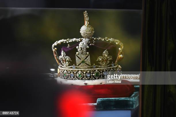 The Imperial State Crown arrives before the State Opening Of Parliament at Houses of Parliament on June 21 2017 in London England This year saw a...
