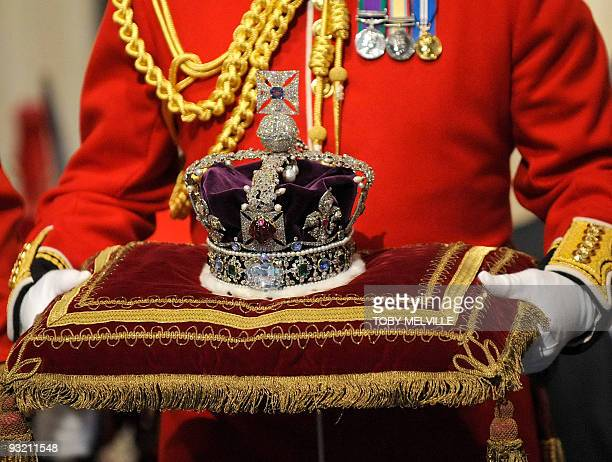 The Imperial State Crown due to be worn by Brtain's Queen Elizabeth II during her traditional speech for the State Opening of Parliament is pictured...