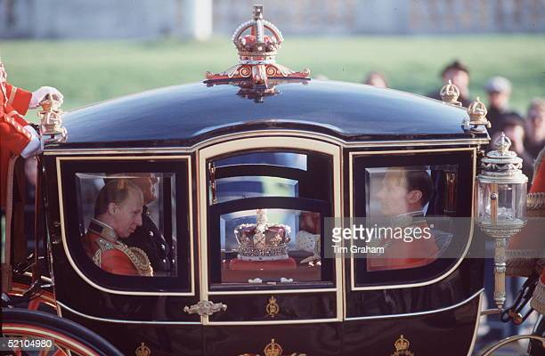 The Imperial State Crown Is Being Taken To The State Opening Of Parliament Ceremony In The Queen Alexandra State Coachcirca 1990s