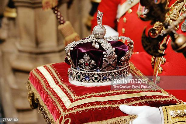 The Imperial State Crown is brought to the House of Lords for the State Opening of Parliament on November 6 2007 in London England