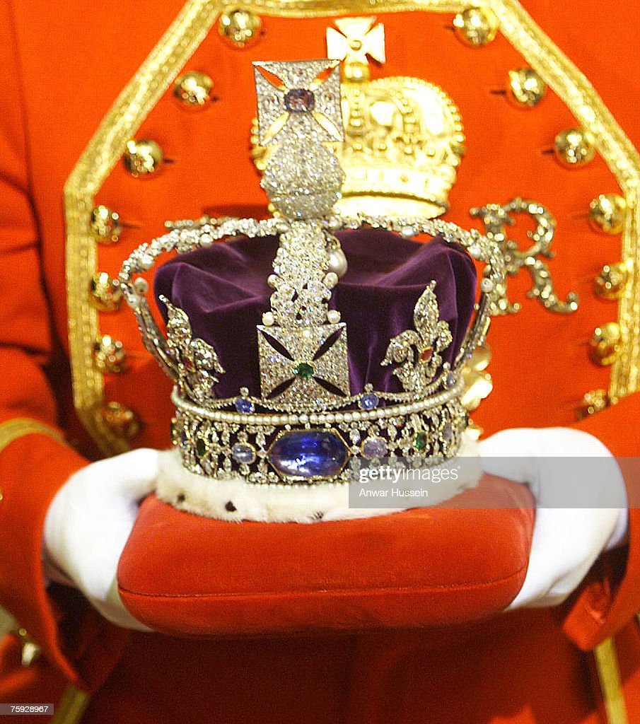 The Imperial State Crown is carried in to Parliament through the Sovereigns Entrance of the Palace of Westminister for the Queen to wear during the State Opening of Parliament on November 17, 1999