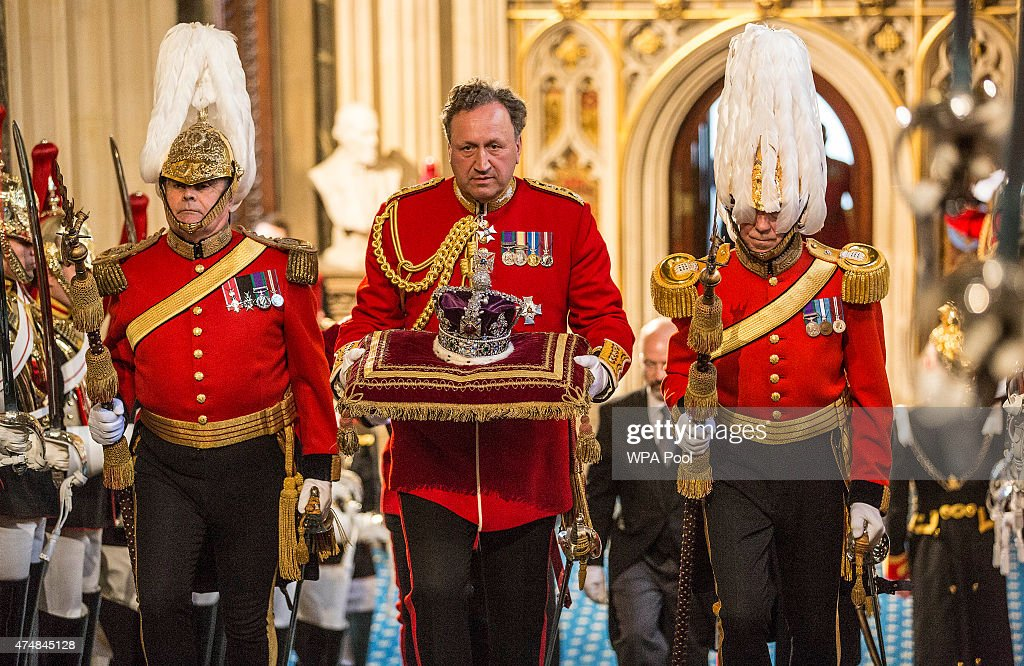 The imperial state crown is ceremonially carried into Parliament at the Palace of Westminster on May 27, 2015 in London, England. The Queen's Speech is the centrepiece of the State Opening and is expected to see promise of an EU referendum, tax cuts and an extension of Right to Buy in the in the first all-Conservative Queen's Speech since 1996.