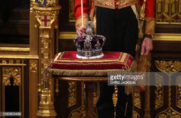 The Imperial State Crown is pictured in the House of Lords chamber, during the State Opening of Parliament at the Houses of Parliament in London on...
