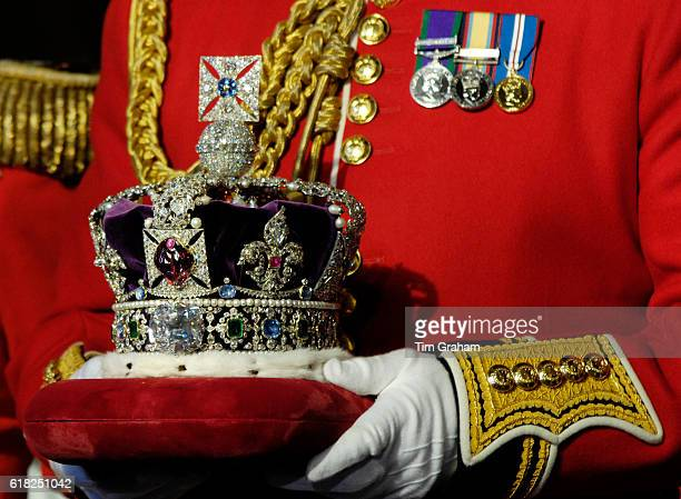 DECEMBER 2007*** The Imperial State Crown is prepared for the State Opening of Parliament at the House of Lords