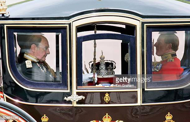 The Imperial State Crown is taken to the State Opening of Parliament Ceremony in the Queen Alexandra State Coach on May 17 2005 in London England In...