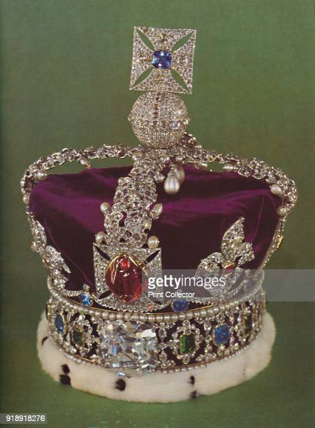The Imperial State Crown worn on State occasions In front is the balas ruby given to the Black Prince in the fourteenth century' 1953 The piece was...