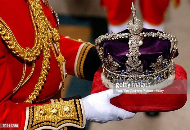 The Imperial Statecrown Being Carried Into The House Of Lords For The State Opening Of Parliament.