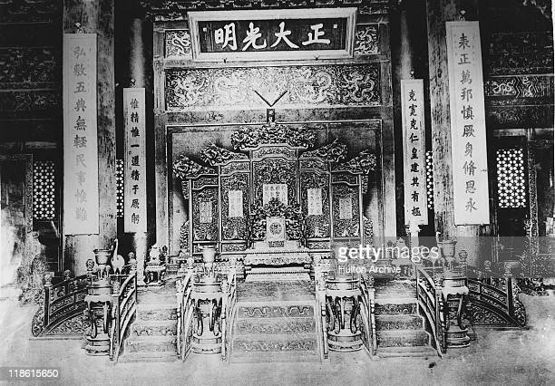 The Imperial Throne in the Palace of Heavenly Purity or Qianqing Palace in the Forbidden City in Peking later Beijing 1911