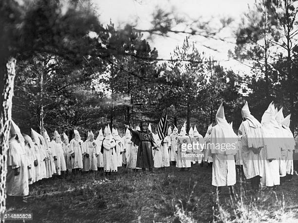 The Imperial Wizard of the Knights of the Ku Klux Klan addressing gathering of fellow clansmen Undated photograph