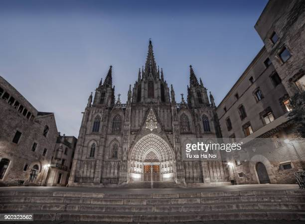 The imposing Cathedral of Barcelona on a cold night
