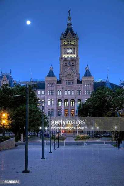 The imposing facade of the Salt Lake City and County Building from Library Square in downtown