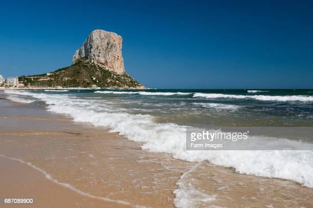 The imposing Penyal d'lfac outcrop in the bay of Calp Costa Brava Spain