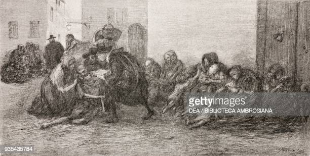 The impoverished peasants flocking to the streets in Milan, illustration by Gaetano Previati , from The Betrothed, A Milanese story of the 17th...