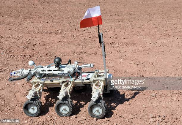 The 'Impuls' Mars rover constructed by students of Kielce University of Technology is pictured before the European Rover Challenge 2014 on September...