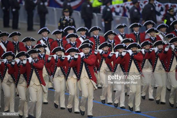 The inaugural parade arrives at Lafayette Square by The White House in Washington DC on January 20 2017 President Donald J Trump was sworn in as the...
