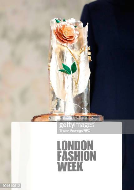 The inaugural Queen Elizabeth II award for British Design presented to designer Richard Quinn during London Fashion Week February 2018 on February...