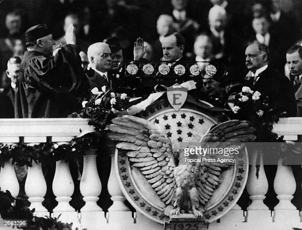 The inauguration of Calvin Coolidge as the 30th President of the United States of America Chief Justice of the Supreme Court and former President...