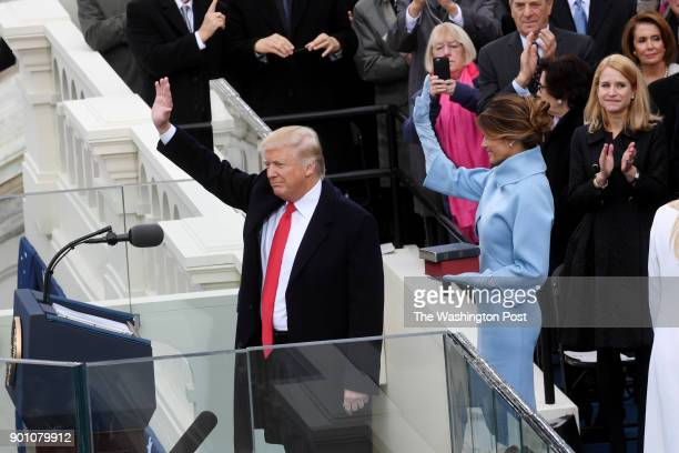 The inauguration of President Donald J Trump on January 20 2017 President Donald J Trump and First lady Melania Trump wave to the crowd