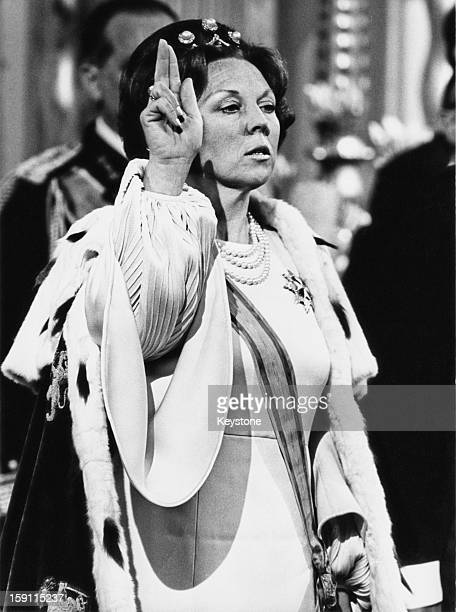The inauguration of Princess Beatrix of the Netherlands as Queen after the abdication of her mother Queen Juliana at the New Church or Nieuwe Kerk in...