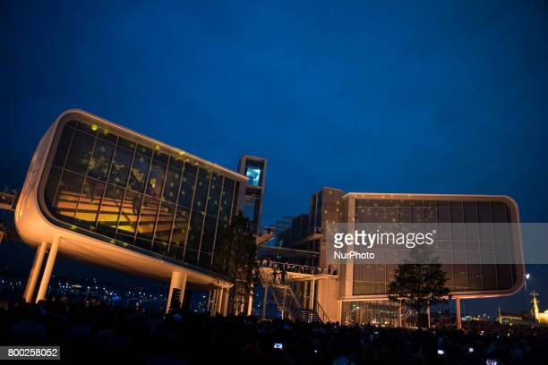 The inauguration of the botin center of the arts and culture was inaugurated with light and sound show On 23 June 2017 in Santander Spain For the...
