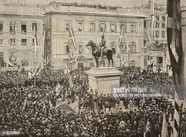 The inauguration of the equestrian statue of Giuseppe Garibaldi Genoa October 15 Italy engraving after a photo by D Ferrari from L'Illustrazione...