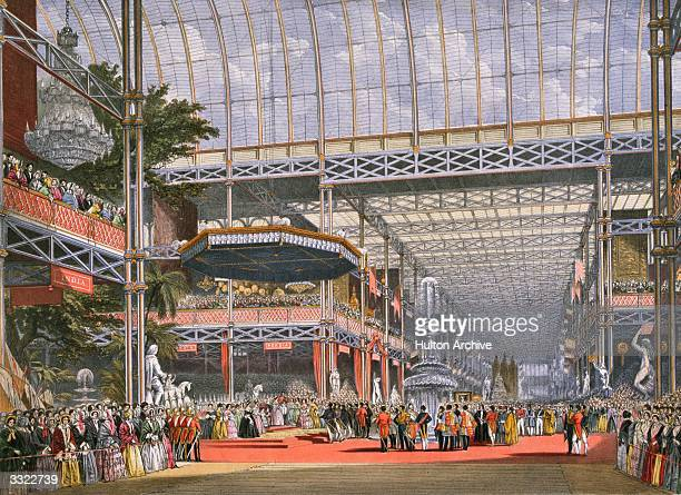 The Inauguration of the Great Exhibition in Crystal Palace the glass and iron building designed by Joseph Paxton at Hyde Park London It was...