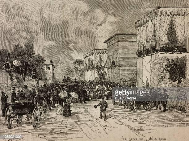 The inauguration of the Sarno Aqueduct Italy engraving from a drawing by Edoardo Matania from L'Illustrazione Italiana No 49 November 20 1887
