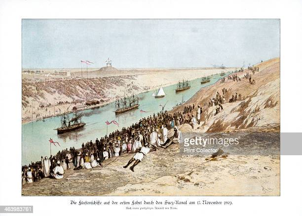 The inauguration of the Suez Canal, 17 November 1869, . Crowds watch the first ships to travel through the canal which was designed by French...