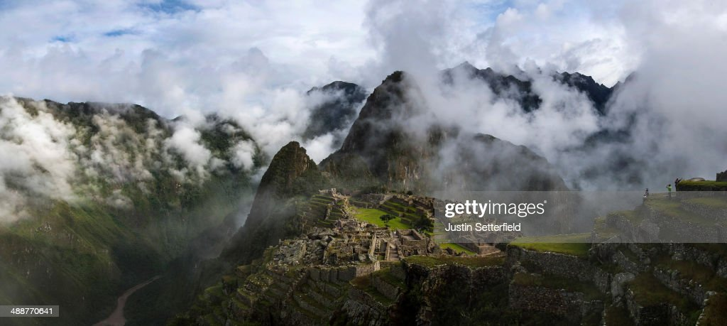 The Inca ruins of the Machu Picchu sanctuary on January 18, 2014 near Cusco, Peru. The 15th-century Inca site, MachuPicchu also known as 'The Lost City of the Incas' is situated high above the Urubamba River. Now a UNESCO World Heritage Site it was discovered in 1911 by the American historian Hiram Bingham.