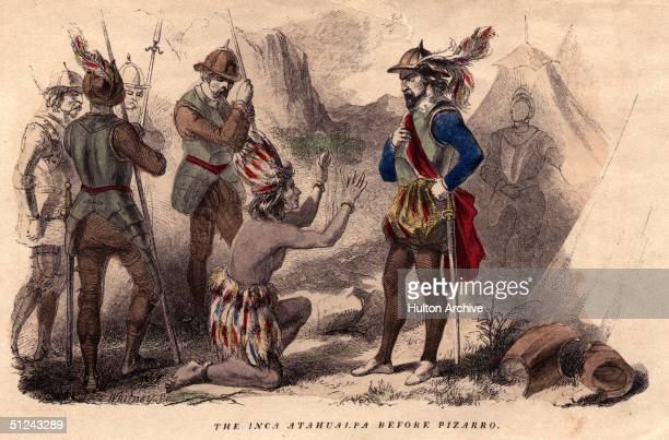 1533 The Inca ruler Atahualpa in supplication before the conquering Spaniard Francisco Pizarro who had him murdered after receiving an enormous...