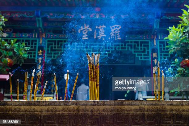 The incense and candle of temple